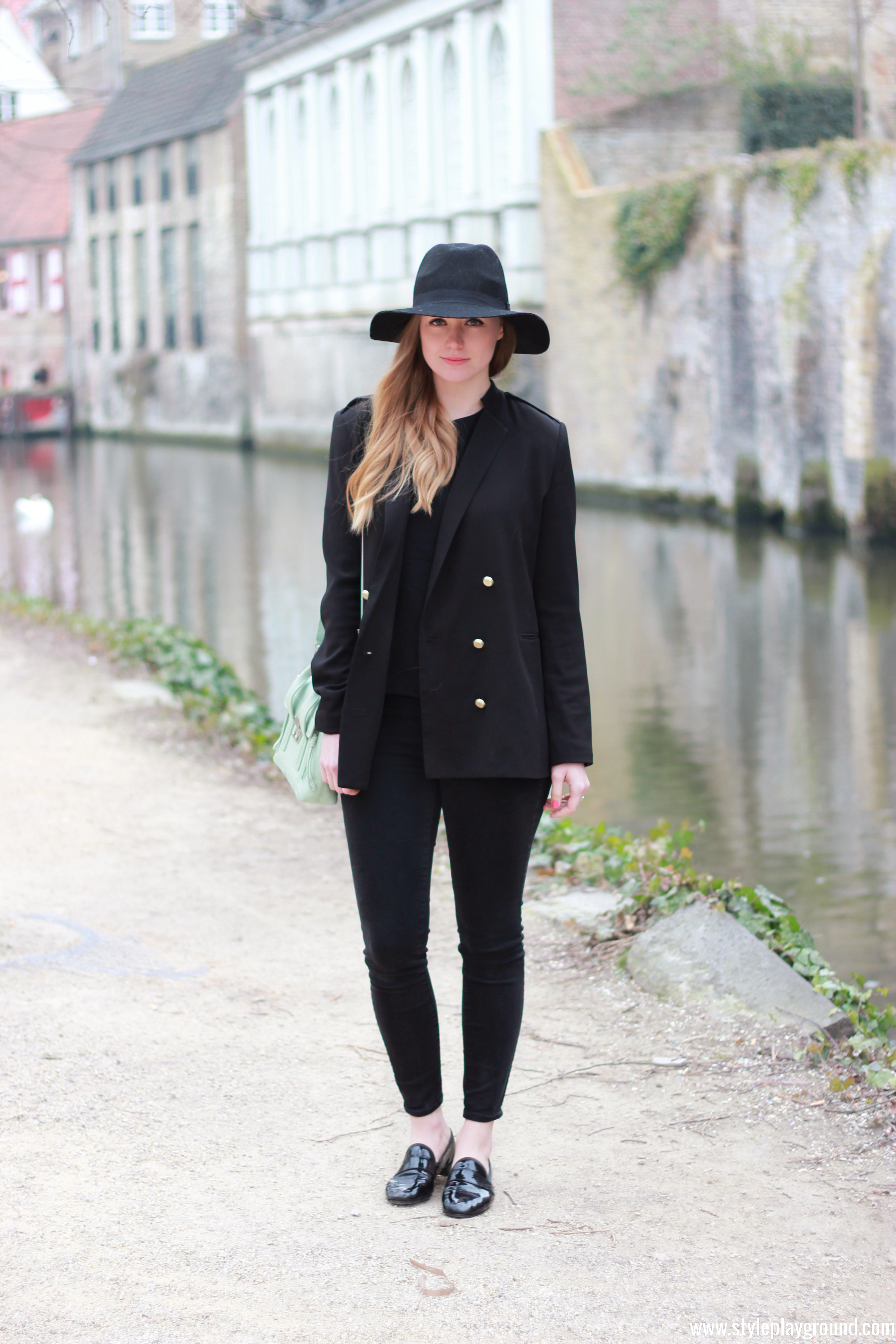 Axelle Blanpain of Style playground is wearing an H&M blazer & hat, Mango jumper, J Brand jeans, Repetto loafers & 3.1 Phillip Lim bag