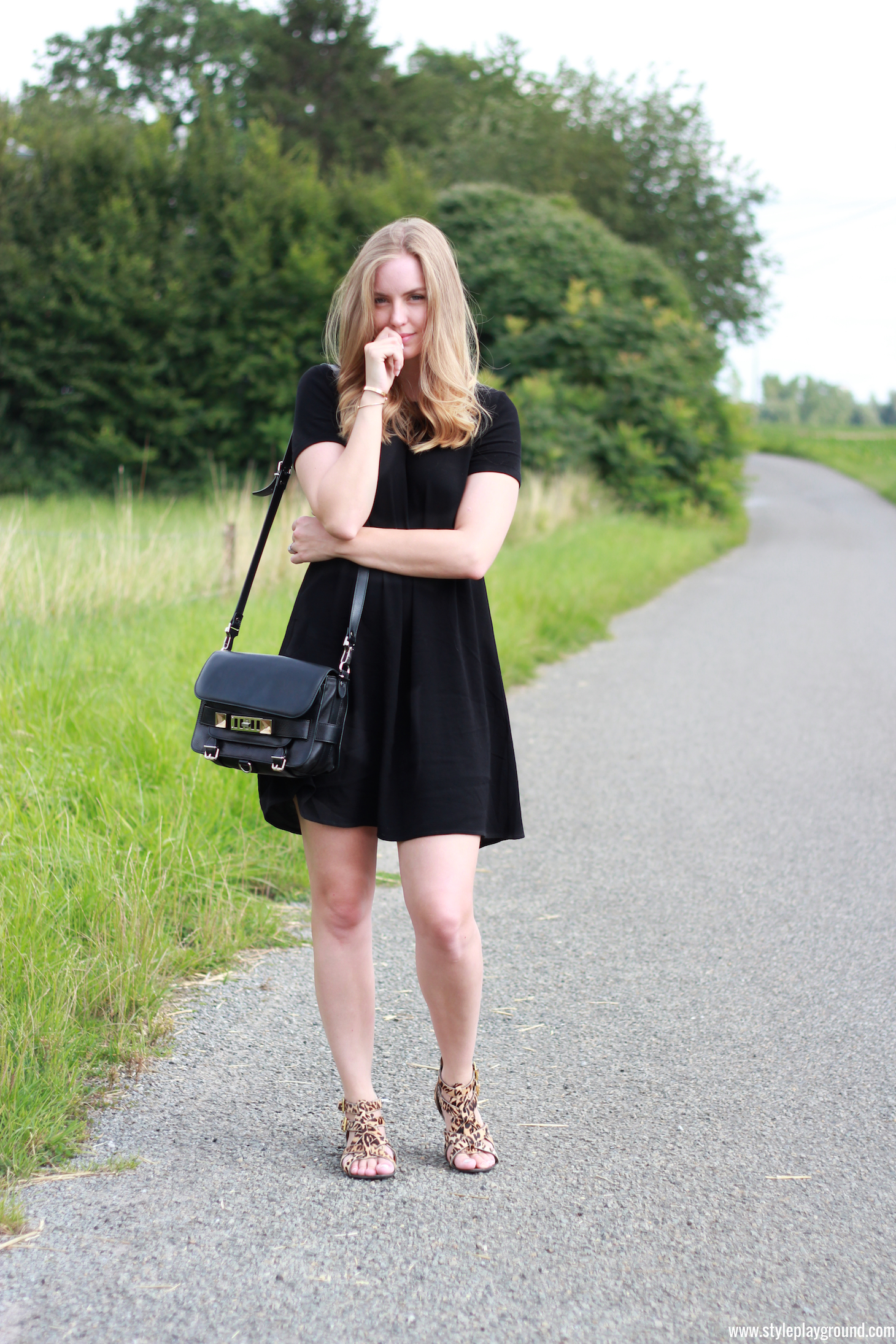 Axelle Blanpain of Style playground is wearing a Bash dress, Proenza Schouler PS11 bag, River Island shoes, Cartier love bracelet & Tiffany T bracelet