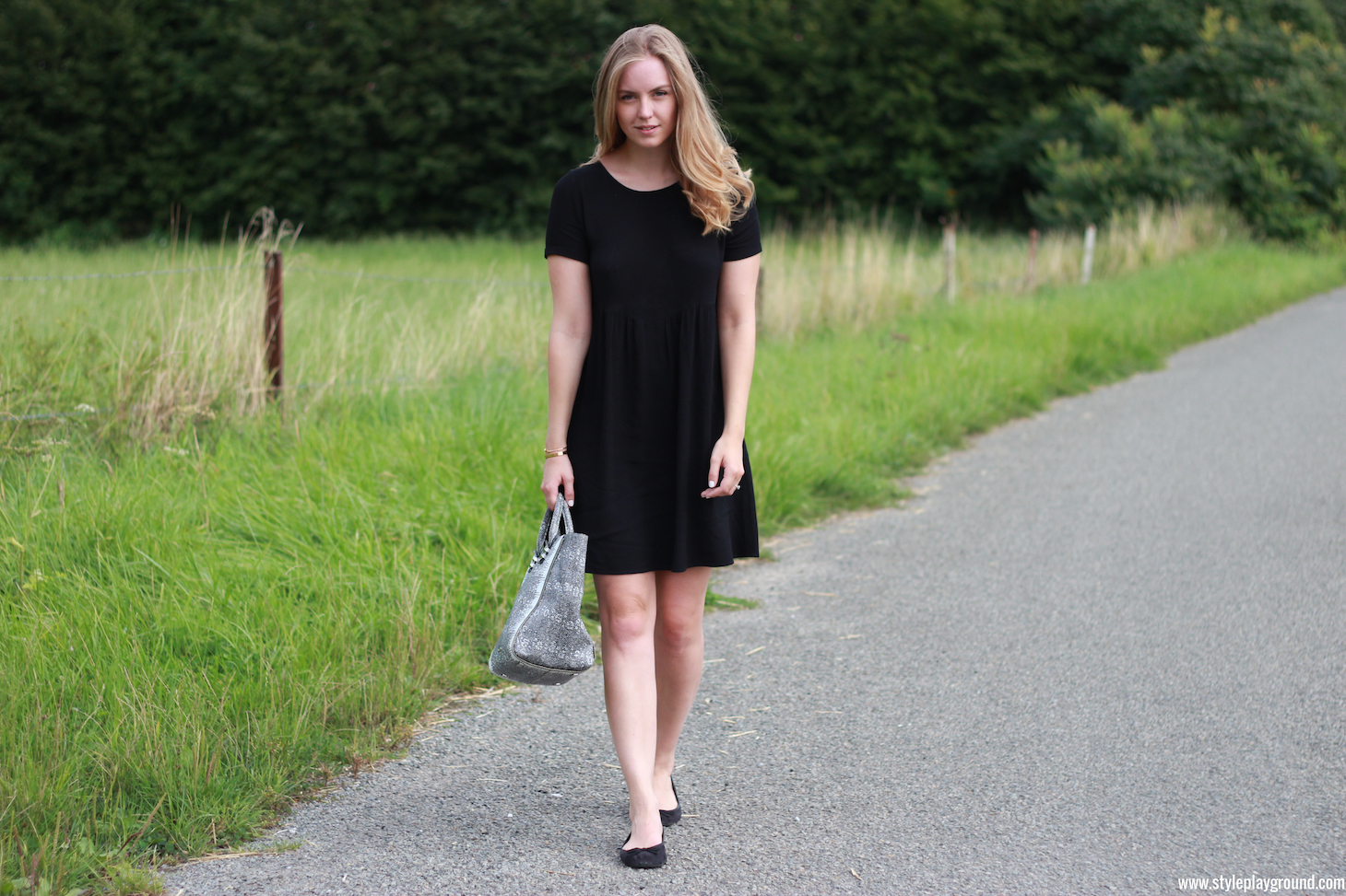 Axelle Blanpain of Style playground is wearing a Bash dress, Rebecca Minkoff mini Perry tote, H&M flats, Cartier love bracelet & Tiffany T bracelet