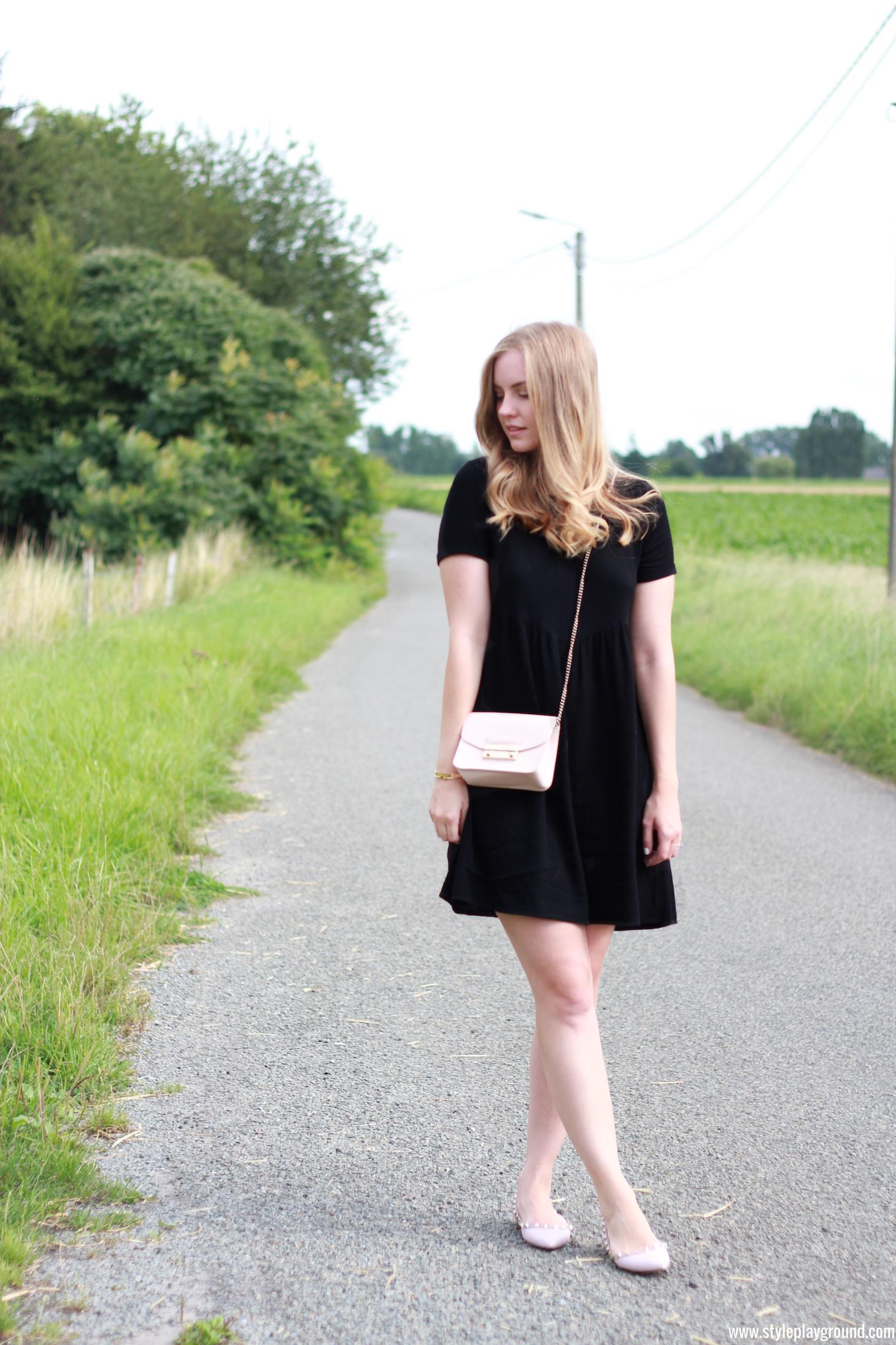 Axelle Blanpain of Style playground is wearing a Bash dress, Furla mini metropolis bag, Valentino rock stud flats, Cartier love bracelet & Tiffany T bracelet