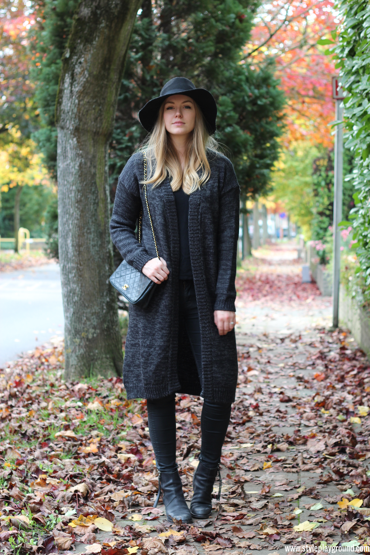Wearable stories cardigan • Zara top & jeans • Vintage Chanel bag • Acne pistol boots • H&M hat via Style playground