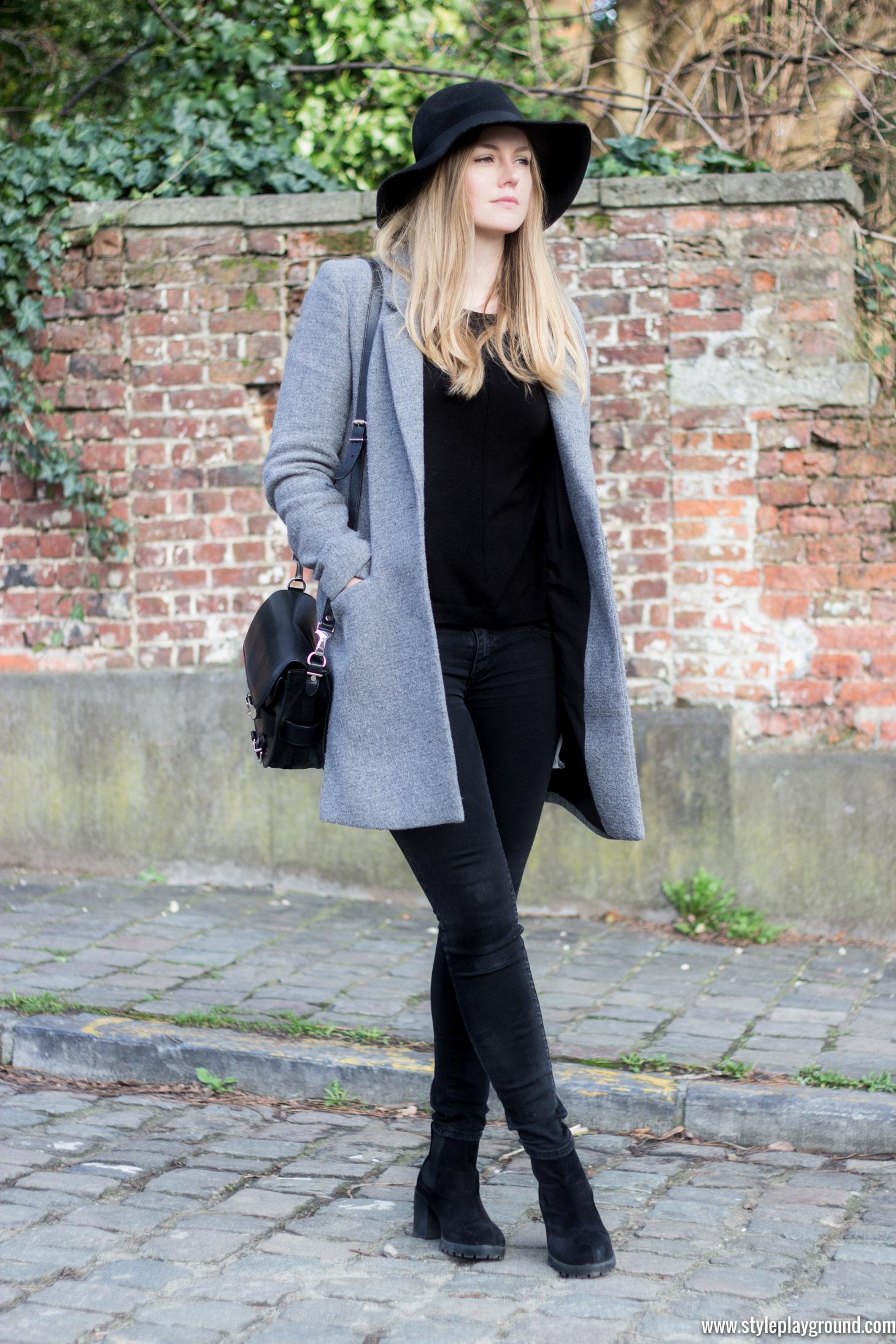 Zara coat, New Look jumper, J Brand skinny jeans, Asos booties, H&M hat, Proenza Schouler PS11 bag via www.styleplayground.com