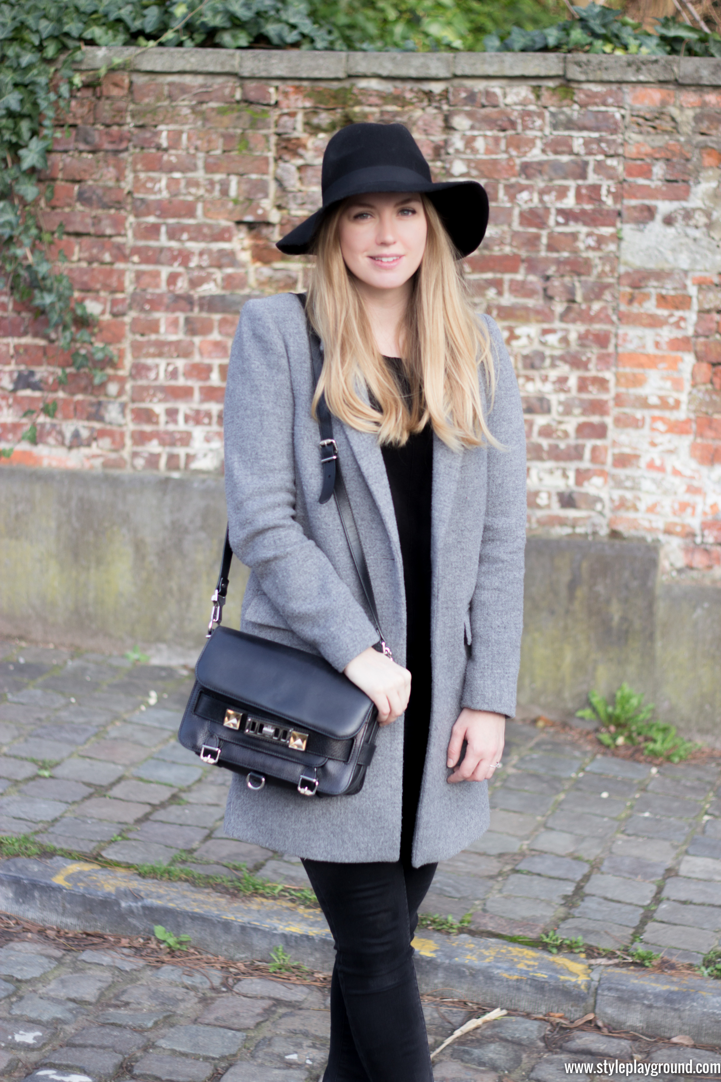 Zara coat, New Look jumper, J Brand skinny jeans, Asos booties, H&M hat, Proenza Schouler PS11 bag via www.styleplayground.com