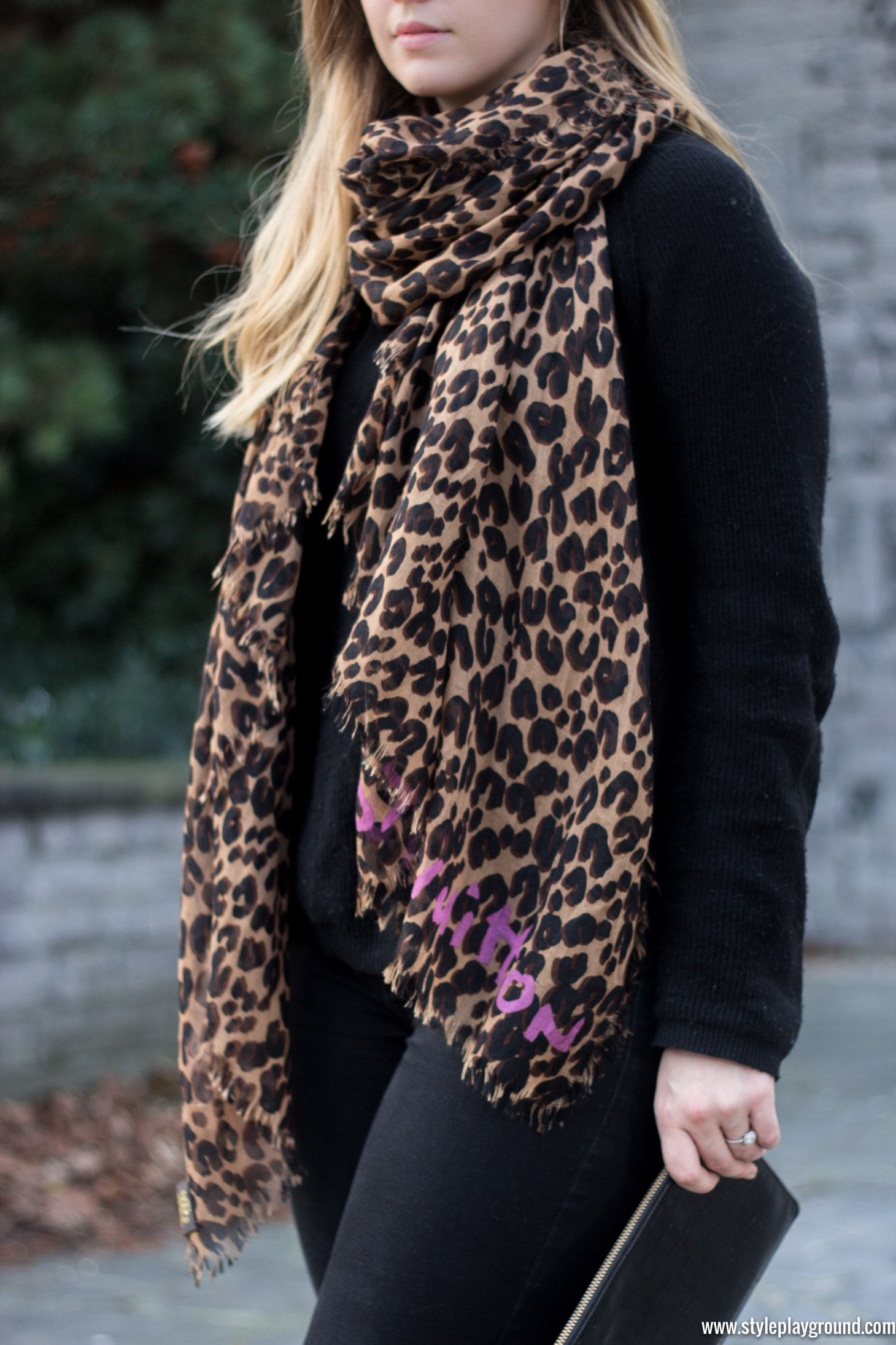 Louis Vuitton scarf, Bash sweater, American Eagle jeans, Whistles clutch via www.styleplayground.com