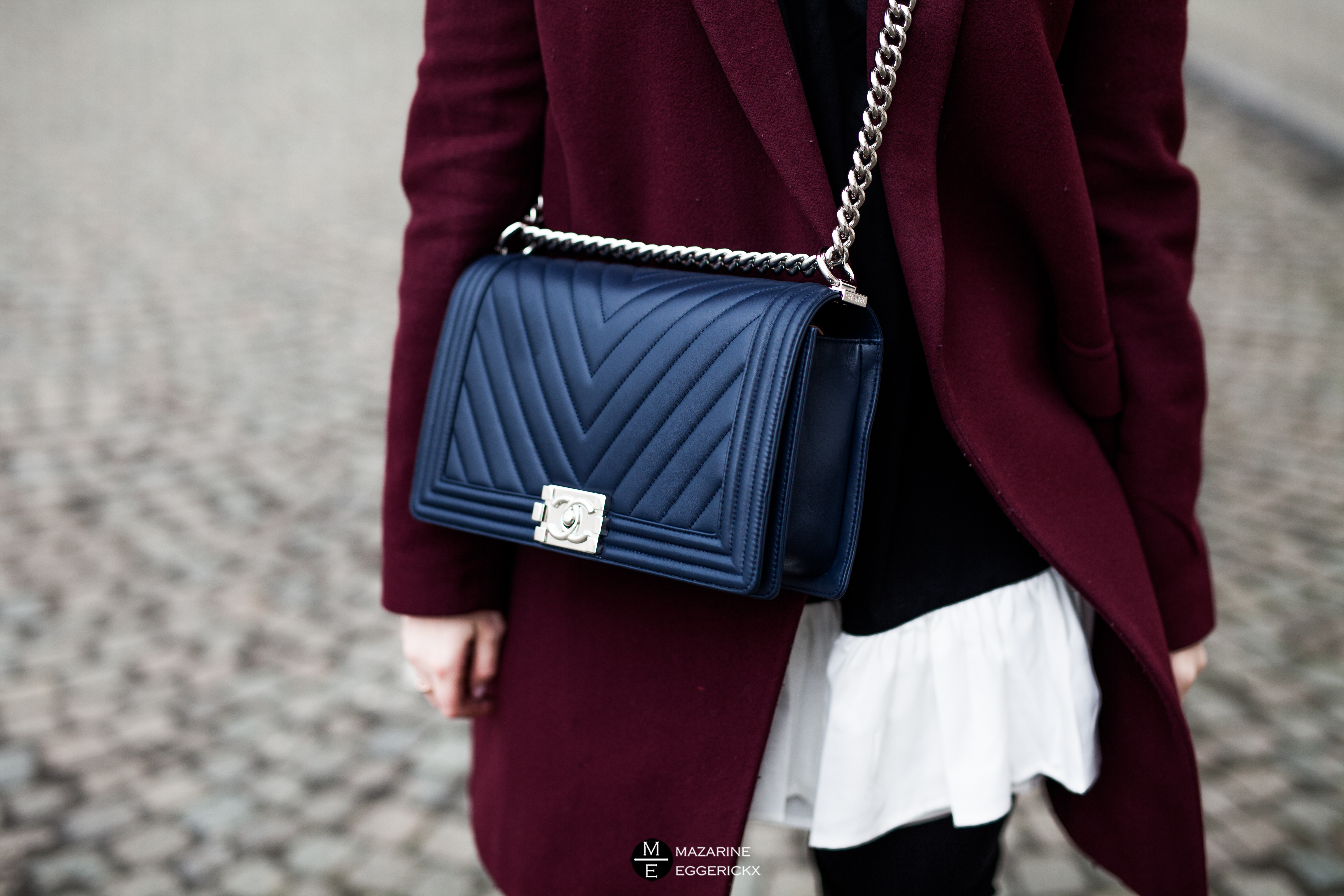 Blue Chanel boy bag in chevron