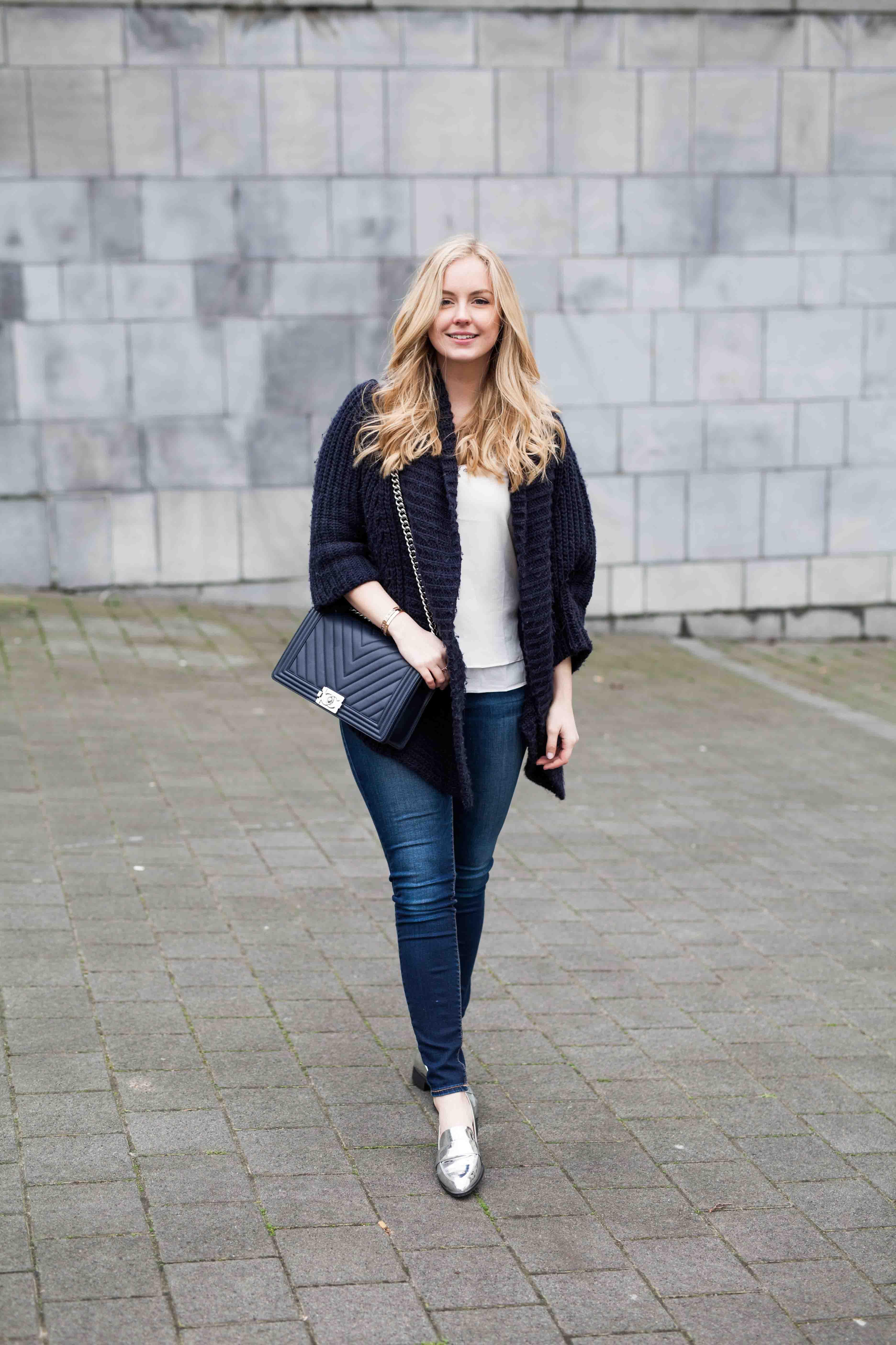 blue knit & silver shoes
