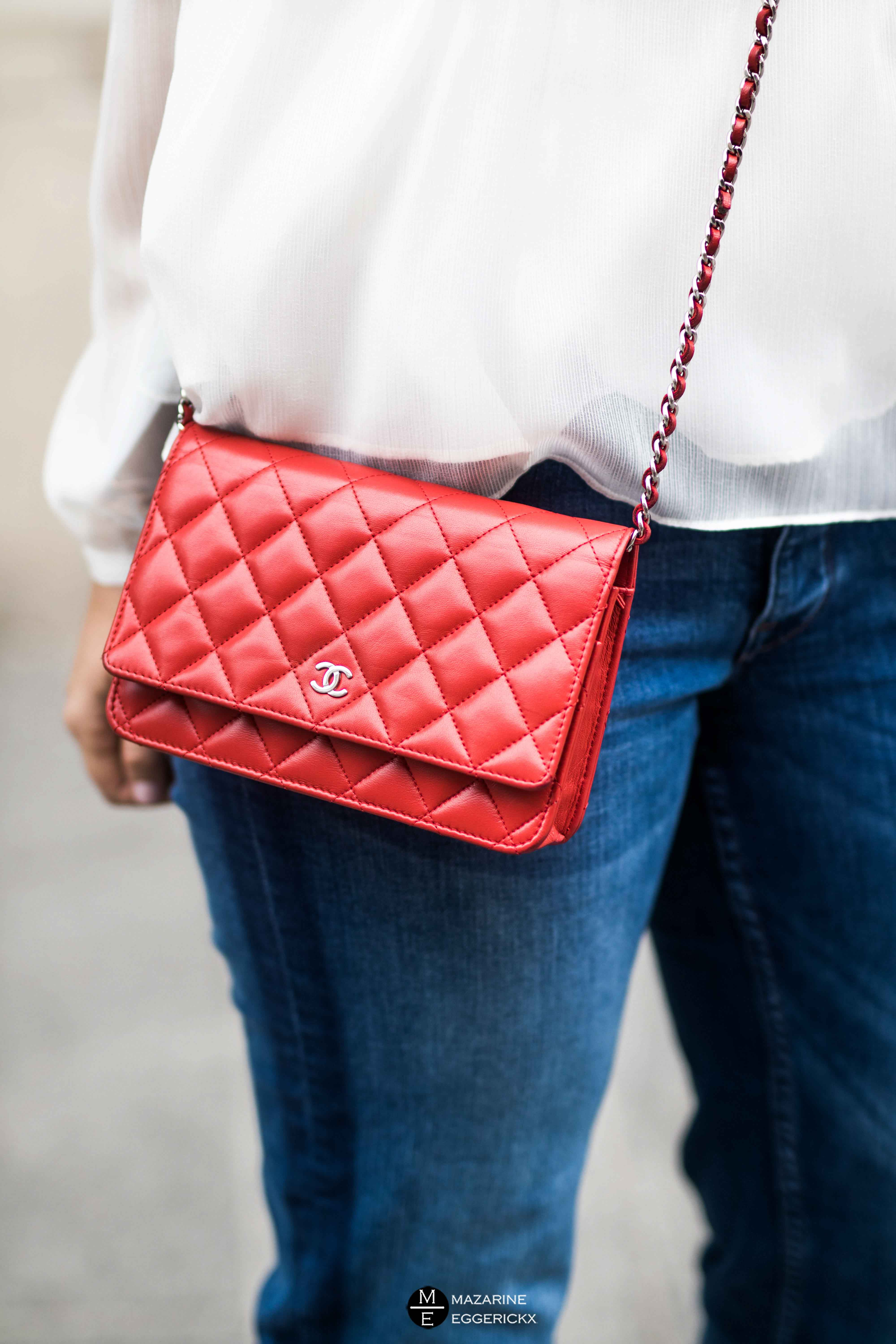 red Chanel wallet on chain