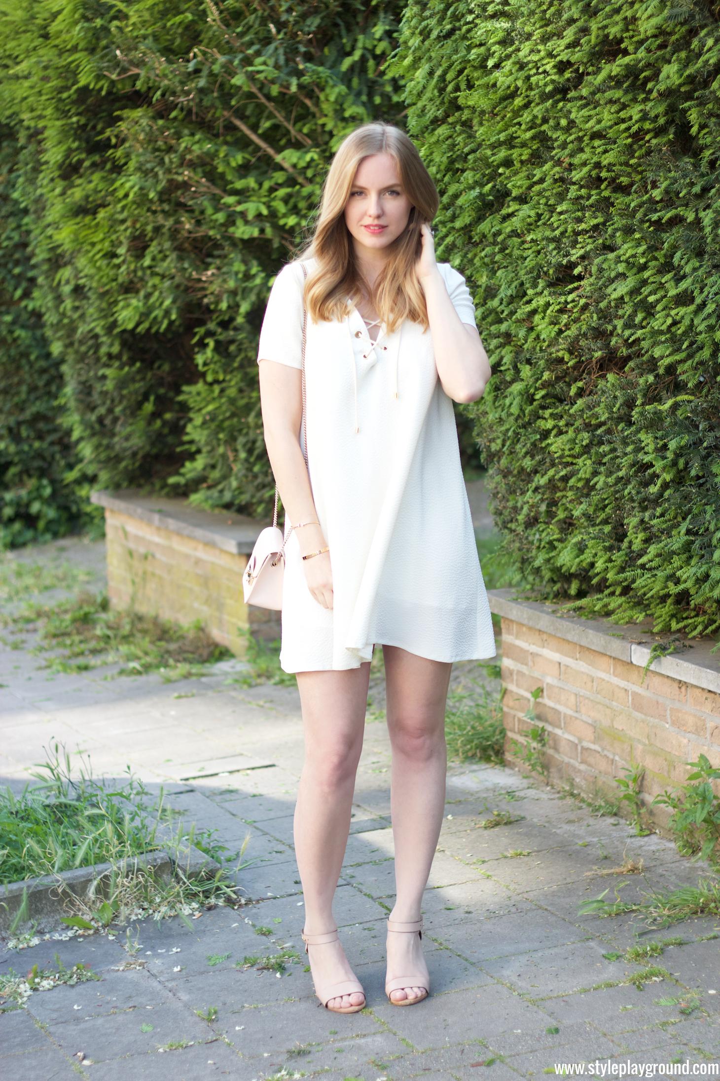 Axelle Blanpain of Styleplayground is wearing a dress from BASH, Furla mini metropolis bag, Mango shoes, Cartier love bracelet, Tiffany&Co T bracelet