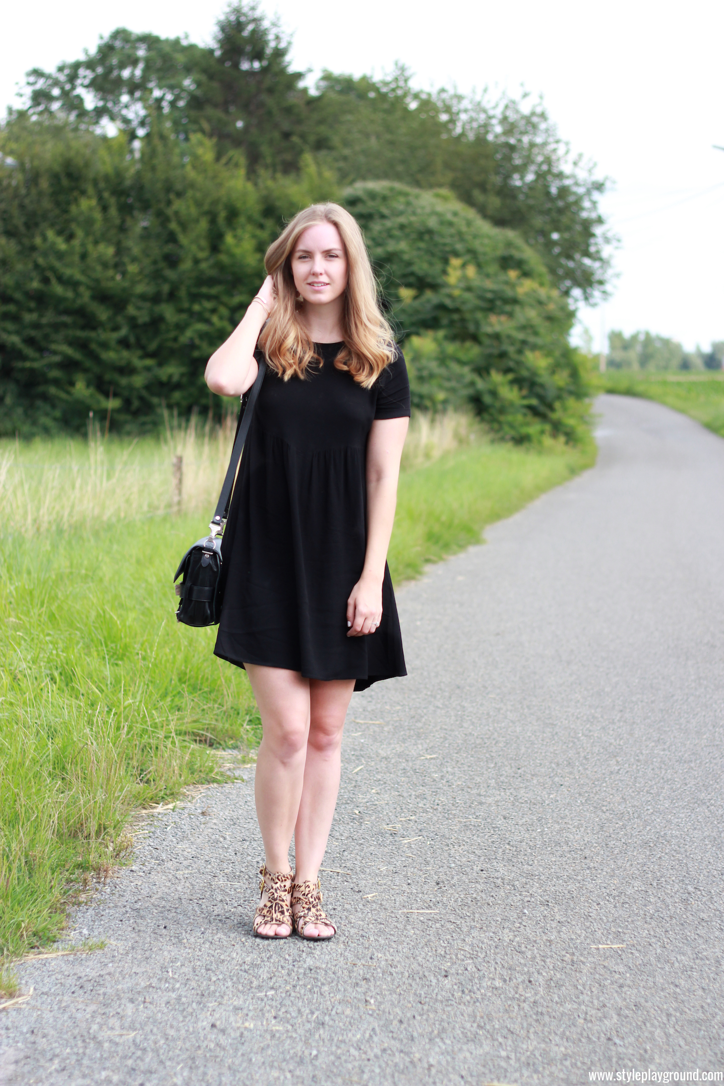 Axelle Blanpain of Style playground is wearing a Bash dress, Proenza Schouler PS11 bag, River Island shoes, Cartier love bracelet & Tiffany T bracelet