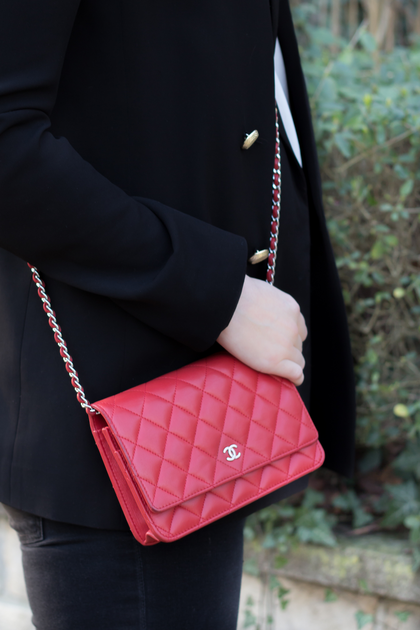 Chanel red wallet on chain