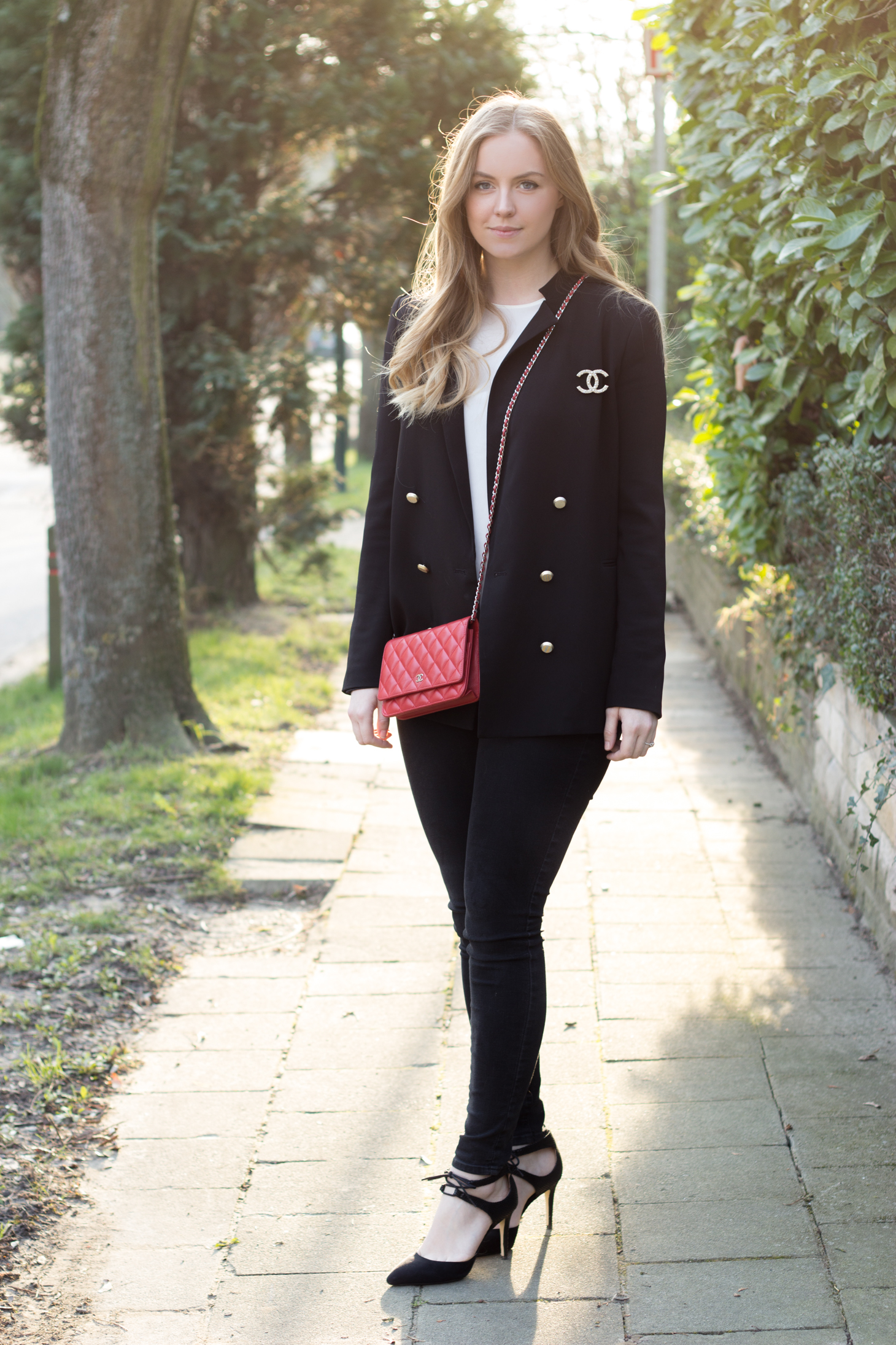 Chanel bag + brooch