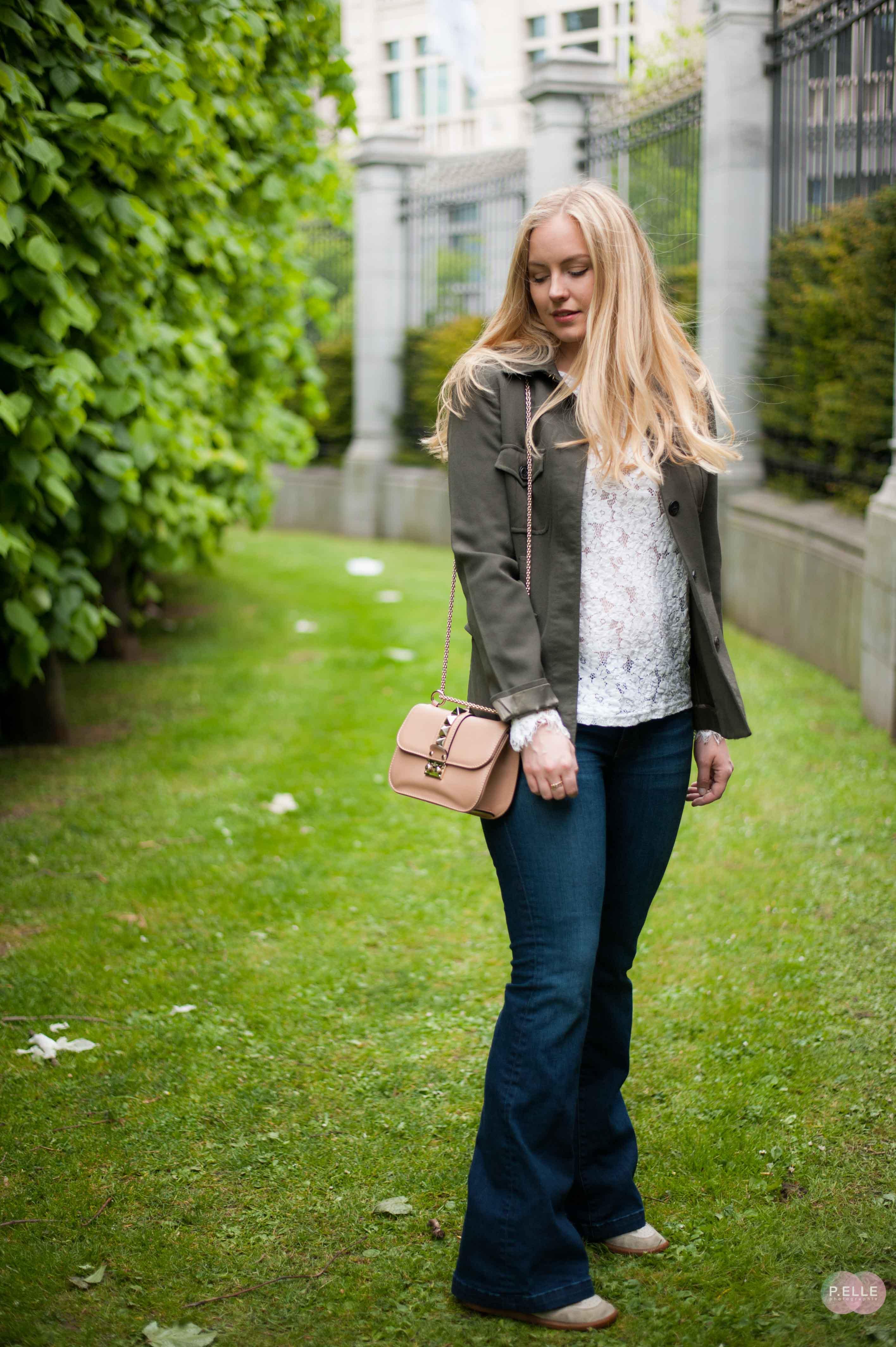 Chanel brooch & Valentino bag