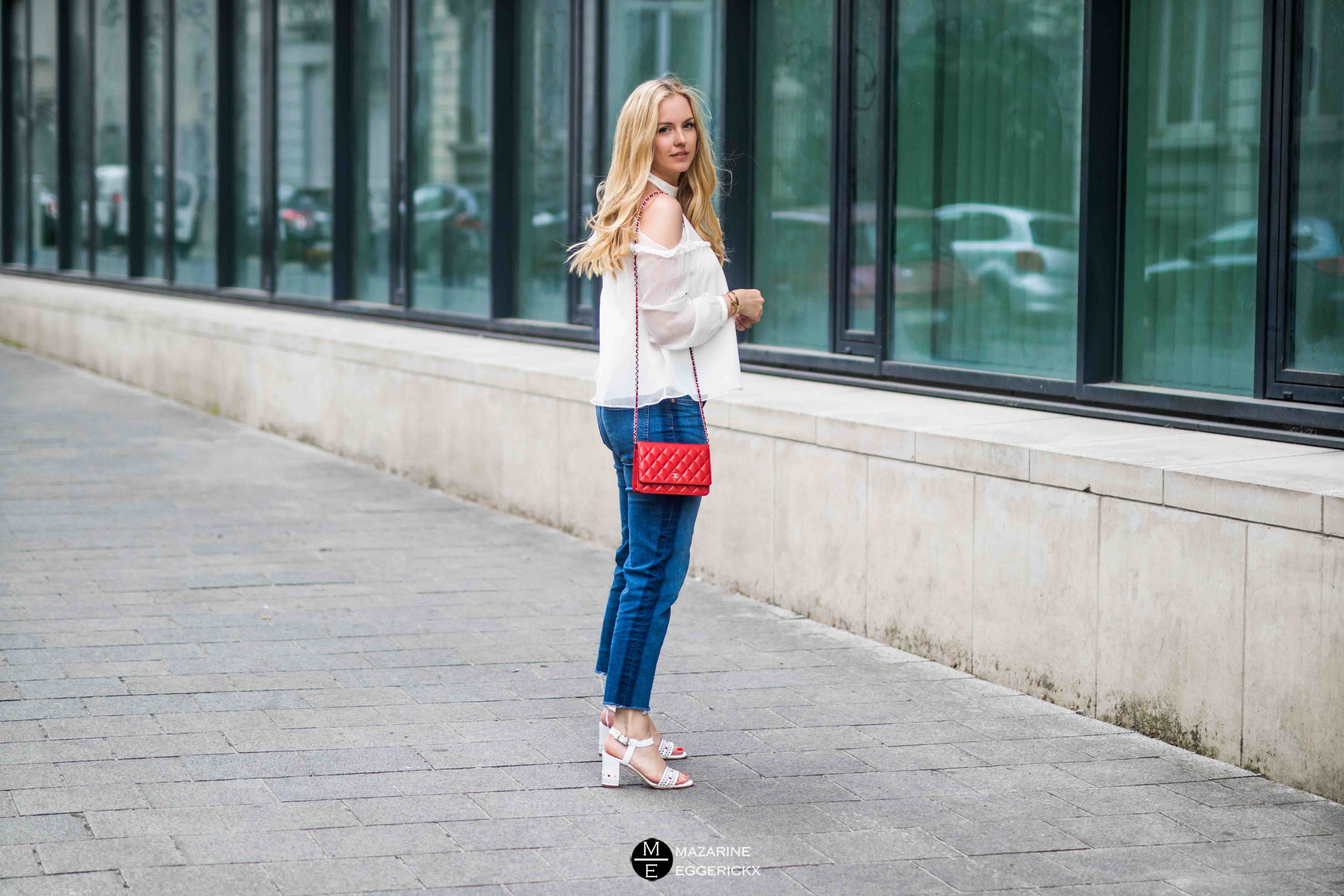 red Chanel wallet on chain & Minelli shoes