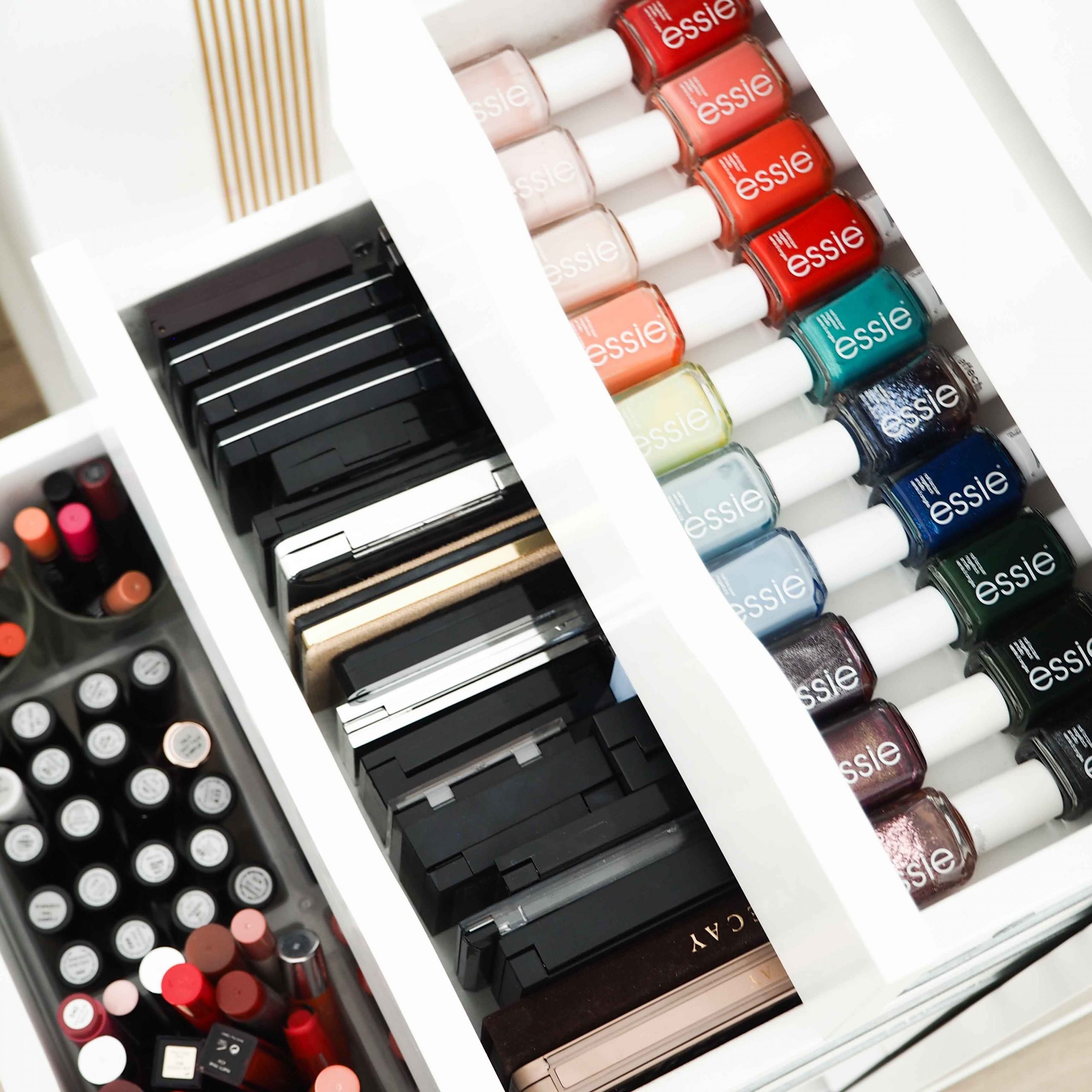 Organized makeup collection in Ikea cabinet