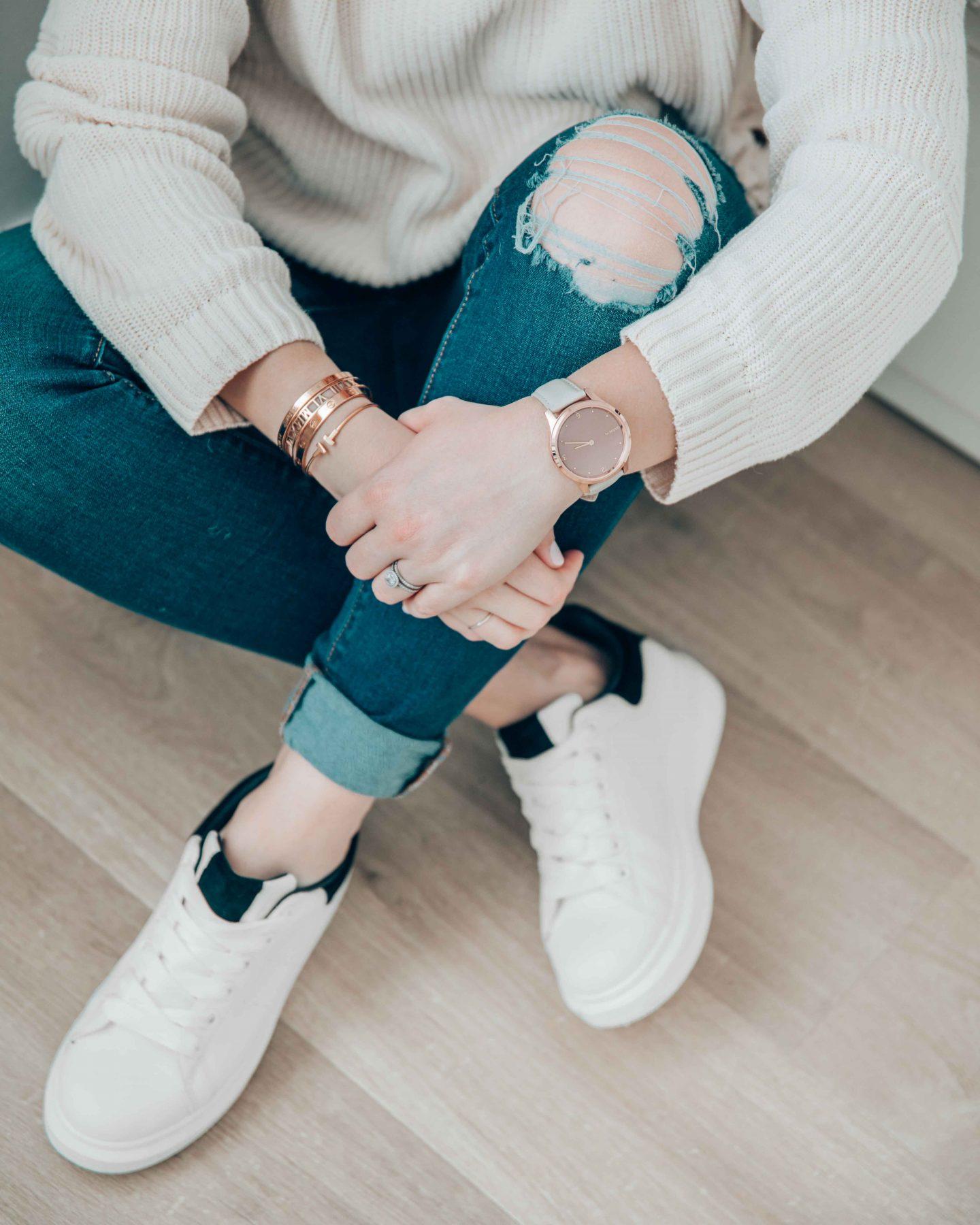 axelle blanpain white sneakers garmin vivomove luxe watch